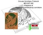 fee plans woodworking resource from WoodworkersWorkshop® Online Store - grouse,wildlife,birds,stencils,templates,scrap wood projects,downloadable PDF,tole painting wood crafts,scrollsawing patterns,4-H Club,4H projects,scouts,girl guides,drawings,Accents In Pine,woodworki