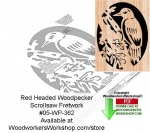 05-WP-362 - Red Headed Woodpecker Downloadable Scrollsaw Woodcrafting Pattern PDF