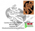 fee plans woodworking resource from WoodworkersWorkshop® Online Store - cardinal,animals,wildlife,birds,stencils,templates,scrap wood projects,downloadable PDF,tole painting wood crafts,scrollsawing patterns,4-H Club,4H projects,scouts,girl guides,drawings,Accents In Pine