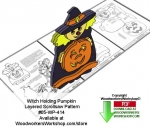 05-WP-414 - Witch Holding Pumpkin Downloadable Scrollsaw Woodcrafting Pattern PDF