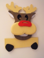 fee plans woodworking resource from WoodworkersWorkshop® Online Store - Rudolph,scrollsawing plans,Christmas,signs,3D,layered,layers,scrap wood projects,downloadable PDF,tole painting wood crafts,scrollsawing patterns,4-H Club,4H projects,scouts,girl guides,agricultural m