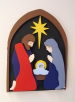 fee plans woodworking resource from WoodworkersWorkshop® Online Store - nativity,3D,Joseph,Mary,Jesus,first joy,star,beginner,scrap wood projects,downloadable PDF,tole painting wood crafts,scrollsawing patterns,4-H Club,4H projects,scouts,girl guides,agricultural mechanic