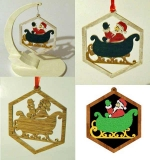 Santa and Sleigh Downloadable Scrollsaw Woodworking Plan PDF, Christmas,Santa,sleighs,ornaments,scrap wood projects,downloadable PDF,tole painting wood crafts,scrollsawing patterns,4-H Club,4H projects,scouts,girl guides,drawings,Accents In Pine,woodworking plan