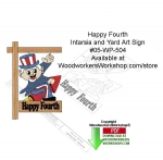 05-WP-505 - Skyrocket Happy 4th Intarsia or Yard Art Sign Woodcrafting Pattern PDF
