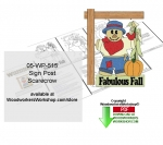 Scarecrow Sign Post Downloadable Scrollsaw Woodcrafting Pattern PDF, scarecrows,fall,yard signs,flowers,stencils,templates,scrap wood projects,downloadable PDF,tole painting wood crafts,scrollsawing patterns,4-H Club,4H projects,scouts,girl guides,drawings,Accents In P