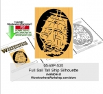 05-WP-535 - Full Sail Tall Ship Silhouette Downloadable Scrollsaw Pattern PDF