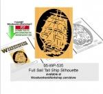 Full Sail Tall Ship Silhouette Downloadable Scrollsaw Pattern