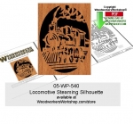 Locomotive Steaming Silhouette Scrollsawing Woodcraft Pattern