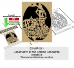 Locomotive at the Station Silhouette Scrollsaw Woodcraft Pattern PDF, locomotives,railways,trains,stencils,templates,scrap wood projects,downloadable PDF,tole painting wood crafts,scrollsawing patterns,4-H Club,4H projects,scouts,girl guides,drawings,Accents In Pine,woo