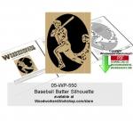 Baseball Batter Silhouette Downloadable Scrollsawing Pattern