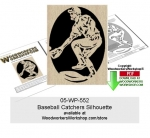 fee plans woodworking resource from WoodworkersWorkshop® Online Store - baseball,catcher,sports,silhouette,stencils,templates,scrap wood projects,downloadable PDF,tole painting wood crafts,scrollsawing patterns,4-H Club,4H projects,scouts,girl guides,drawings,Accents In P