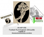 fee plans woodworking resource from WoodworkersWorkshop® Online Store - football,sports,silhouette,runningback,stencils,templates,scrap wood projects,downloadable PDF,tole painting wood crafts,scrollsawing patterns,4-H Club,4H projects,scouts,girl guides,drawings,Accents