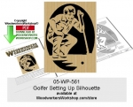 05-WP-561 - Golfer Setting Up Silhouette Downloadable Scrollsawing Pattern PDF