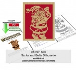 Santa and Bells Silhouette Downloadable Scrollsawing Pattern PDF woodworking plan