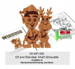 Elf with Reindeer Shelf Silhouette Downloadable Scrollsaw Pattern