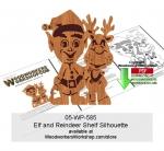 Elf with Reindeer Shelf Silhouette Downloadable Scrollsaw Pattern