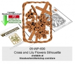 Cross and Lily Flowers Silhouette Pattern Downloadable
