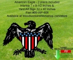 fee plans woodworking resource from WoodworkersWorkshop® Online Store - American,eagles,silhouettes,july 4th,independence day,United States,stencils,templates,scrap wood projects,downloadable PDF,tole painting wood crafts,scrollsawing patterns,4-H Club,4H projects,scouts,