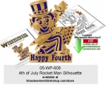 05-WP-608 - 4th of July Rocket Man Silhouette Wood Pattern Downloadable PDF