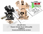 Raven Ghost Skull Halloween Silhouette Scrollsaw Pattern Downloadable