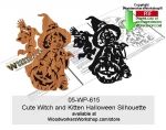 fee plans woodworking resource from WoodworkersWorkshop� Online Store - happy halloween,witches,kittens,stencils,templates,scrap wood projects,downloadable PDF,tole painting wood crafts,scrollsawing patterns,4-H Club,4H projects,scouts,girl guides,drawings,Accents In Pine