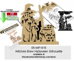 fee plans woodworking resource from WoodworkersWorkshop� Online Store - happy halloween,witches,cauldron,stencils,templates,scrap wood projects,downloadable PDF,tole painting wood crafts,scrollsawing patterns,4-H Club,4H projects,scouts,girl guides,drawings,Accents In Pin