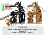 Witch Greeting Halloween Silhouette Scrollsaw Downloadable