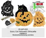 Scary Cat Halloween Silhouette Scrollsaw Downloadable