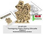 Thanksgiving Pilgrim Sharing Silhouette Scrollsaw Downloadable PDF, Thanksgiving,turkey,give thanks,pilgrims,children,prayers,praying,religion,religious,yard signs,stencils,templates,scrap wood projects,downloadable PDF,tole painting wood crafts,scrollsawing patterns,