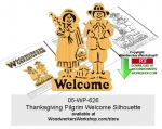 Thanksgiving Pilgrim Welcome Silhouette Scrollsaw Downloadable