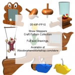 Show Stoppers Woodworking Pattern Collection, scarp wood,bubblegum machines,pul toys,clowns,coin banks,whales,frogs,pineapples,rifles,spinning toys,trains,trucks,wind spinners,dogs,toilet roll holder,stamp roll holder,duck note holder,clothes pin