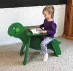 Turtle Writing Desk Woodworking Plan., child furniture,childs,kids,childrens,turtles,school desks,playroom,woodworking plans,projects,patterns,full-sized,templates