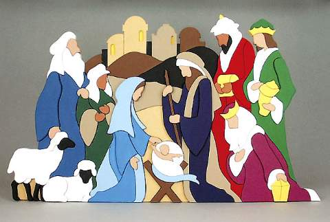 19-W2472 - Spectacular Nativity Scene Scroll Saw Pattern Set.