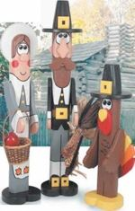 19-W2681 - Thanksgiving Pilgrim Post People Woodworking Plan Set - 3 plans included