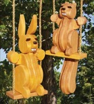 Swinging Squirrel and Bunny Woodworking Plan Set., swinging squirrels,chipmunks,rabbits,bunnys,bunnies,swingers,swings,animals,wildlife,yard art,solid wood crafts,woodworking plans,projects,easy,beginner,patterns,full-sized,templates