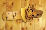 19-W3710 - Wolf Trophy Coat Rack Woodworking Plan.