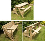 24-001P - Folding Bench and Picnic Table Combo Woodworking Plan