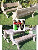 24-002 - Folding Picnic Table and Bench Seat combination (PDF) Woodworking Plan