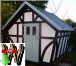 24-012 - Storage Shed Tudor Style Construction Plan