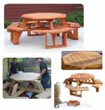 fee plans woodworking resource from WoodworkersWorkshop Online Store - octagon picnic tables,woodworking plans,projects,wooden,outdoors,furniture,seating,eight sided