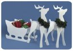 fee plans woodworking resource from WoodworkersWorkshop Online Store - reindeer and sleigh,Christmas,wintertime,snow,full sized woodworking plans,patterns,projects,templates,yard art,decorative painted crafts,silhouettes,white