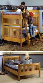 Bunk Beds or Twin Beds All-In-One Downloadable Woodworking Plan PDF, Arts and Crafts style,bunk beds,twin,bedroom furniture,downloadable PDF,woodworking plans,scrollsawing projects,blueprints