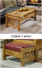 Coffee Table and Ottoman Woodworking Plan Set, arts and crafts,mission,coffee tables,ottoman,furniture,oak,fee woodworking plans,projects,patterns,blueprints,build,construction,how to,diy,do-it-yourself