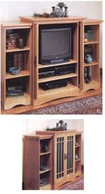 fee plans woodworking resource from WoodworkersWorkshop Online Store - dp-00092,entertainment center,flipper doors,three piece,side pieces,glass door,furniture,fee woodworking plans,projects,patterns,blueprints,build,construction,how to,diy,do-it-yourself
