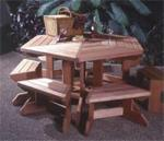 fee plans woodworking resource from WoodworkersWorkshop Online Store - dp-00110,picnic table,benches,six sided,hexagon,outdoor,fee woodworking plans,projects,patterns,blueprints,build,construction,how to,diy,do-it-yourself