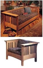 31-MD-00123 - Arts and Crafts Mission Sofa and Chair Woodworking Plan.