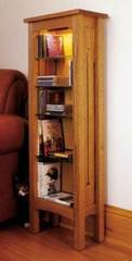 Arts and Crafts CD and DVD Storage Rack Woodworking Plan, dp-00189,arts and crafts,cd,dvd,storage,mission,cabinets,glass shelves,fee woodworking plans,projects,patterns,blueprints,build,construction,how to,diy,do-it-yourself