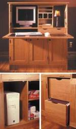 31-MD-00192 - Home Office Hideaway Computer Workstation Woodworking Plan.