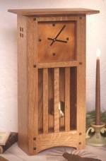 fee plans woodworking resource from WoodworkersWorkshop Online Store - dp-00253,mantle clock,arts and crafts,mission,copper,oak,small,fee woodworking plans,projects,patterns,blueprints,build,construction,how to,diy,do-it-yourself