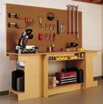 fee plans woodworking resource from WoodworkersWorkshop Online Store - dp-00319,workbench,easy,L shaped,workshop,worktable,storage,fee woodworking plans,projects,patterns,blueprints,build,construction,how to,diy,do-it-yourself